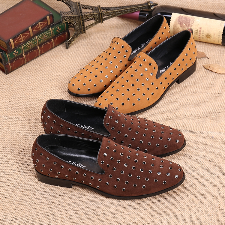 Фото Genuine leather Mens Loafers Casual Shoes Flats Slip on Stud Round toe Wedding Party Shoes Rivets Spring Fall Shoes Plus Size 46