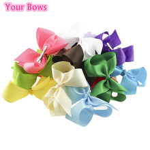 Your Bows 20PCS/Lot 6Inch Solid Hair Bows Fastion Hair Clips Polyester Bows Hairpins Headwear Children Hair Accessories