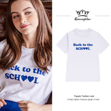 2017 Bts Tops Women West Coast style Letter printing to the school Loose t-shirt women's short-sleeved female shirt summer
