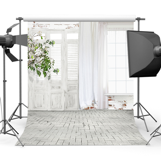 Mehofoto Newborn Backdrops White Window Door Children Birthday Photo Background Photography Studio CM-4014