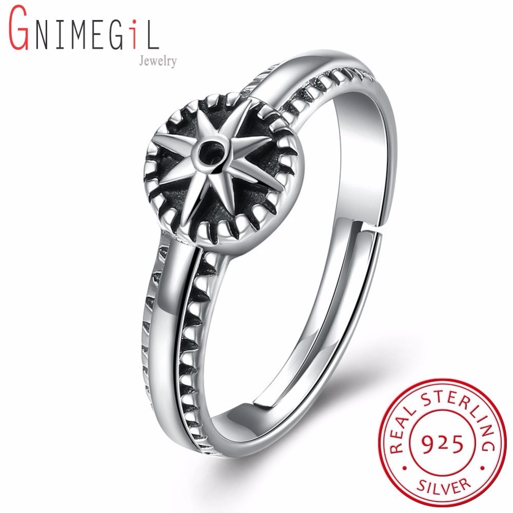 GNIMEGIL Luxury Antique 100% 925 Sterling Silver Star Rings Brand Rings for Women Men Party Club Original Jewelry Gifts
