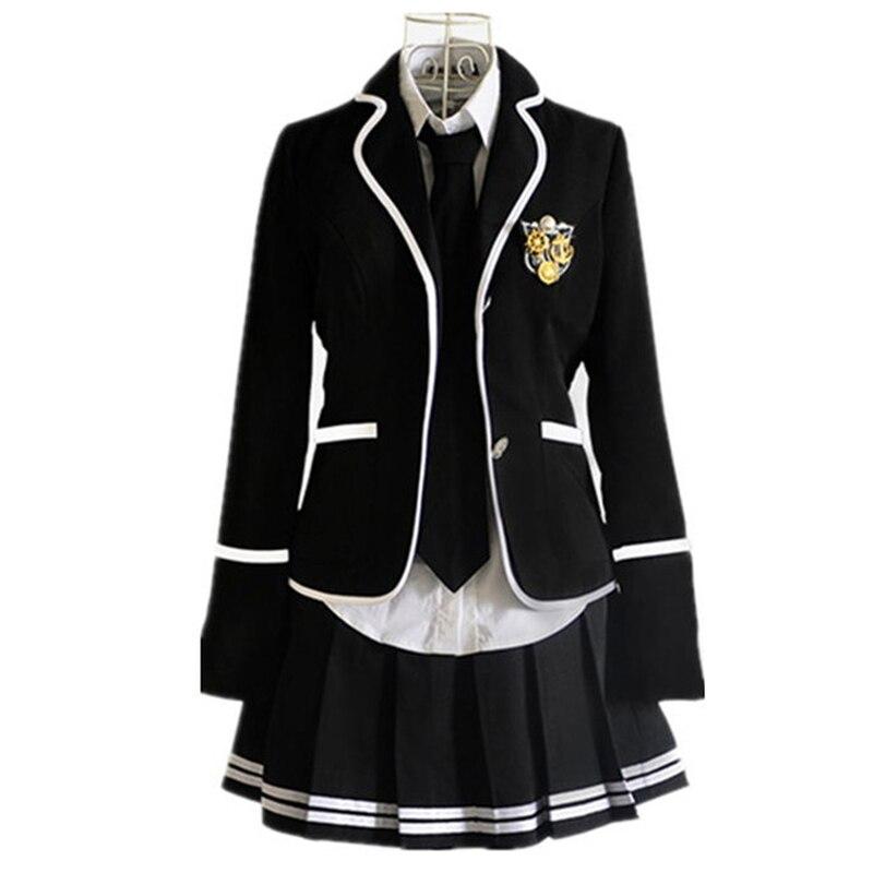 New Japanese Korean Girls School Uniforms College Suit Blazer Jacket Sets Long Sleeve Costume School Students Coat Black White