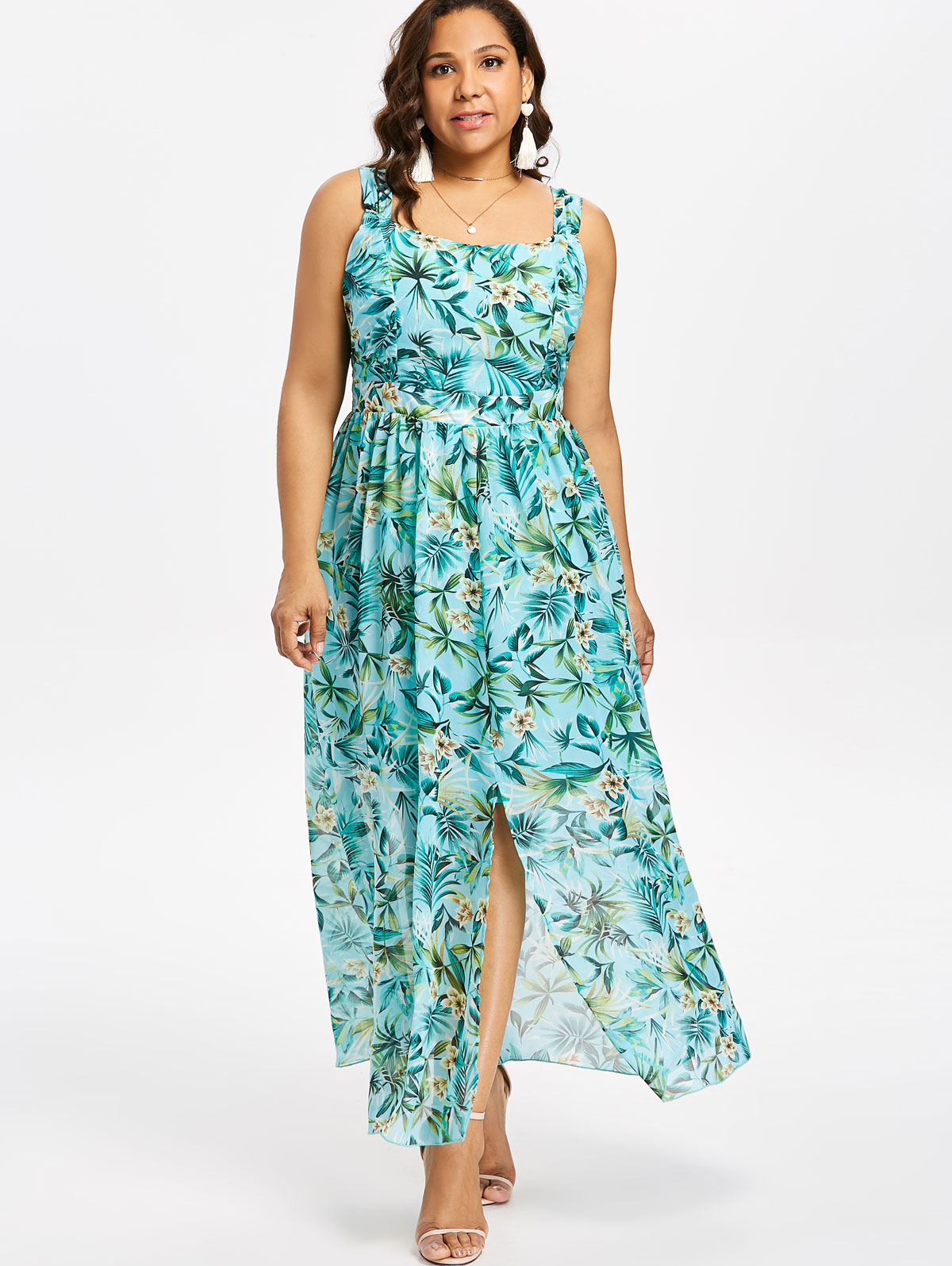 0473246d01a 5XL Plus Size Sleeveless Maxi Hawaiian Floral Front Split Dress Square Neck High  Waisted Ankle-