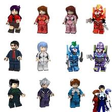 에반게리온 미니 맨 Ayanami Rei 아스카 Shiji Ikari Gendou 피규어 장난감 빌딩 벽돌 블록 레고와 호환 가능