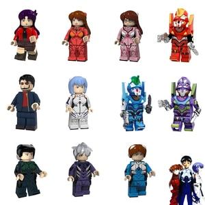 Image 1 - EVANGELION מיני איש Ayanami ריי אסוקה Shiji Ikari Gendou דמויות צעצועי בניין בלוק תואם עם לגו