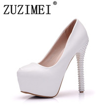 New Platform Pearl Lace White Wedding Shoes Women Pumps Party Dance Sexy  High Heels Bridal Shoes 71d293854bf4