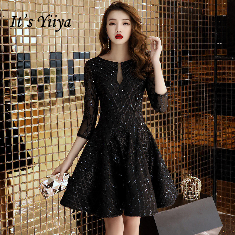 It's YiiYa Cocktail Dress O-neck Shining Fabric Illusion Back Short Party Dress Half Sleeve Little Black Formal Ball Gown  E009