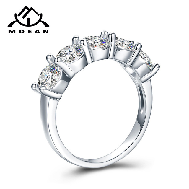 MDEAN White Gold Color Engagement Rings for Women Wedding Clear AAA Zircon Jewelry Gift Bijoux Bague Size 5 6 7 8 9 10 11 H006