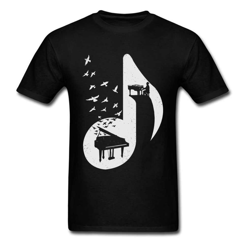 Camisas masculinas notas de música alta qualidade roupas de algodão natural o piano egeu camiseta primavera engolir juventude tshirt o pescoço