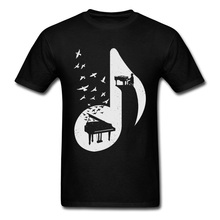 Men T Shirts Music Notes High Quality Natural Cotton Clothes The Aegean Piano T-Shirt Spring Swallow Youth Tshirt O-Neck music notes skew neck sweatshirt