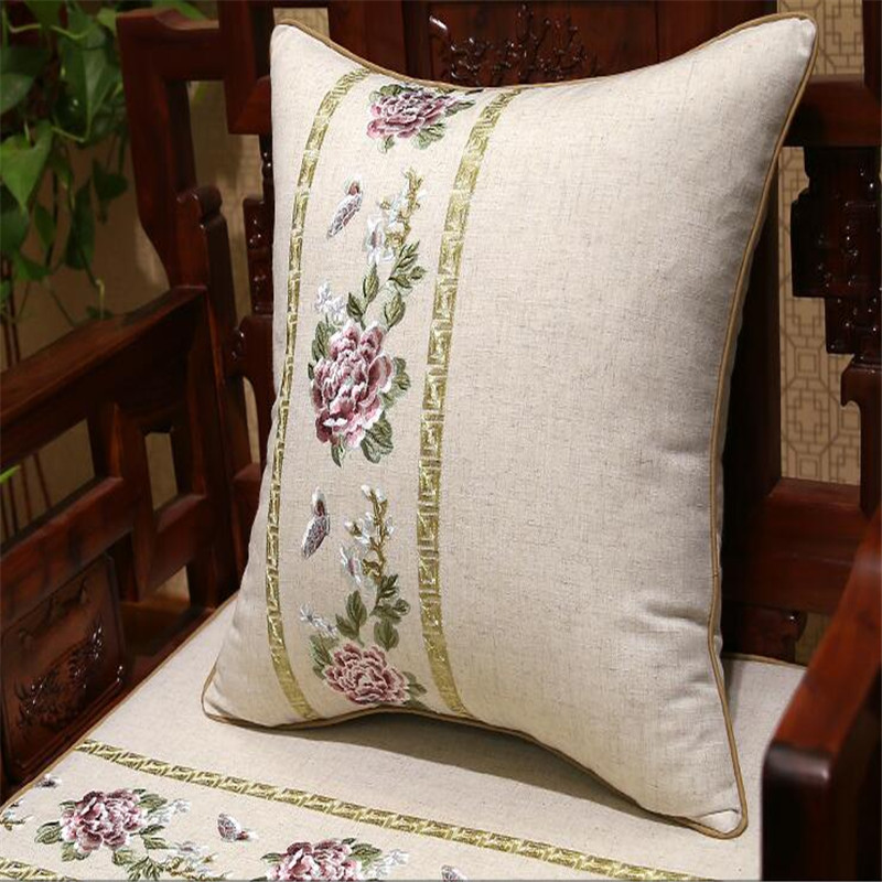 free shipping cotton linen Peony throw <font><b>Pillow</b></font> with inner <font><b>50x50cm</b></font> <font><b>Pillow</b></font> embroidery cushion <font><b>pillow</b></font> chair sofa car <font><b>decorate</b></font> image