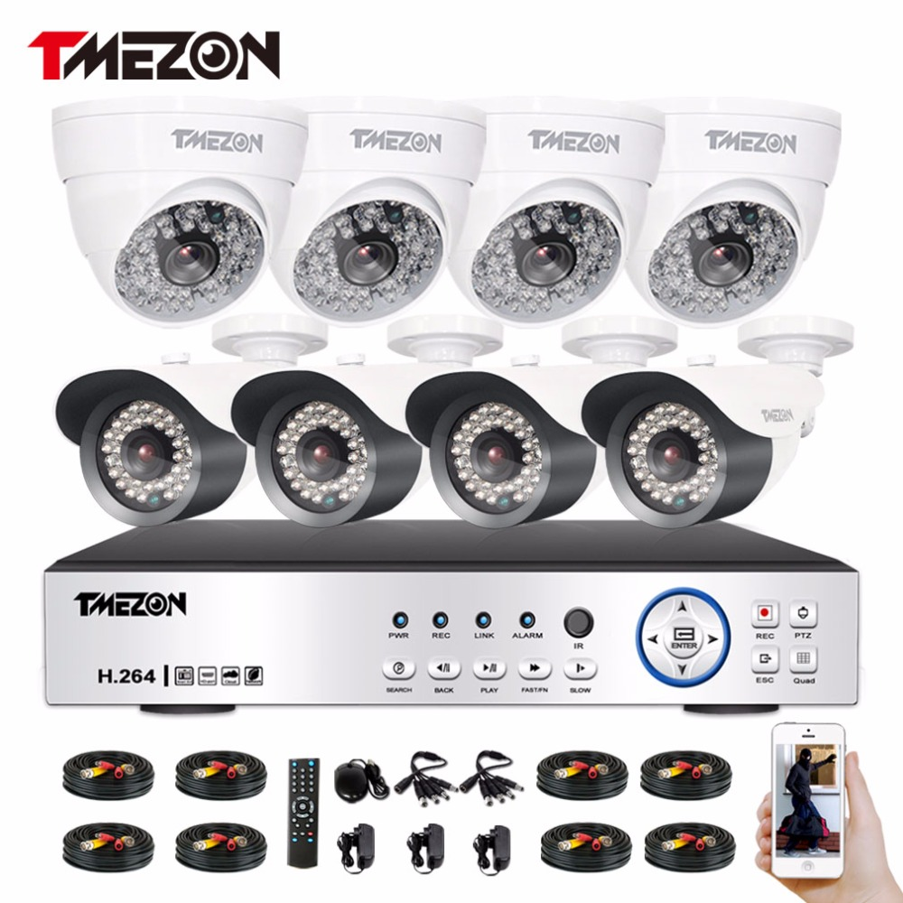 Tmezon 8 Channel AHD 1080P DVR Security Surveillance System With 4 Pcs Outdoor Bullet Camera 4