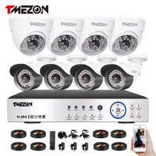 Tmezon 8 Channel AHD 1080P DVR Security Surveillance System With 4 Pcs Outdoor Bullet Camera 4 Pcs Indoor Dome Cameras White Kit