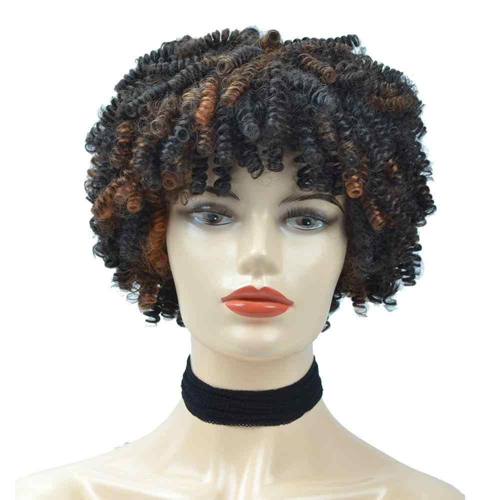 Pelucas rizadas Afro rizadas con flequillo sintético peluca corta negro Natural Ombre marrón peluca para mujer fibra de alta temperatura