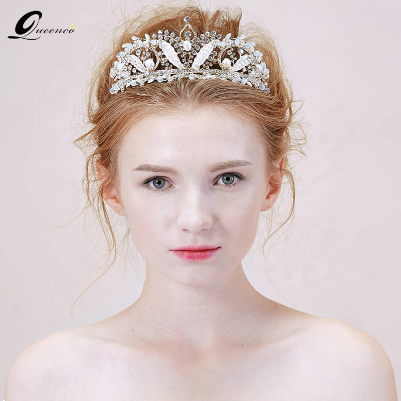 Wedding Hairstyles With Headband And Veil: Woman Hair Ornaments Trendy Crown And Tiaras Wedding