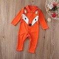 Retail Child Fox fleece top overall newborn baby clothes boys clothing romper Roupas de Bebe