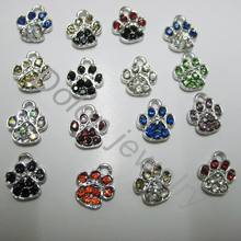 Mix Color 1cm Tiny Crystal Alloy Paw Charm fit for DIY Dog or Cat or Bear Pet Jewelry Bracelet DIY pendant(China)