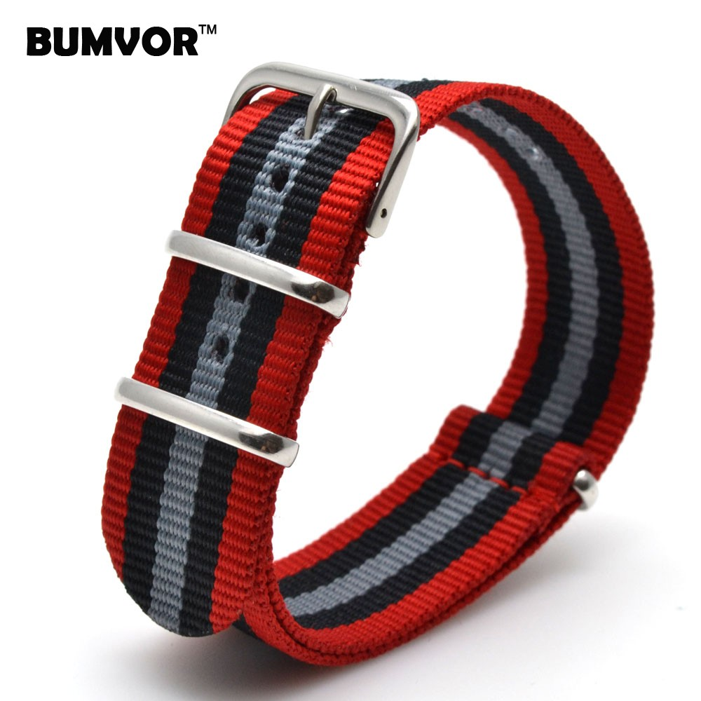 Hot New 2016 Army Military Nato Nylon Watch 22 mm Red Black Grey fabric Woven watchbands Strap Band Buckle belt 22mm accessories