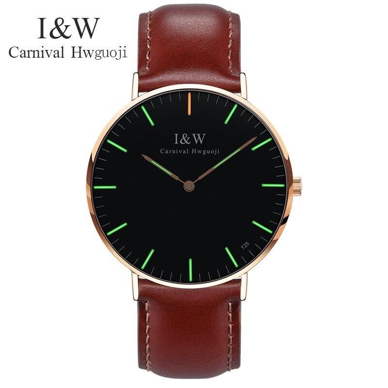 Fashion Men Ultrathin Business Quartz Watches Carnival I W Tritium Light Luminous Mens Leather Clock Wristwatches