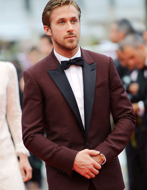 Bespoke Mens Suits Burgundy Tuxedo Jacket Red Black Tuxedo Slim Fit Groom Wear Two Piece Wool