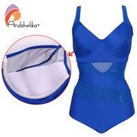 Andzhelika One Piece Swimsuit 2017 New Swimwear Women Mesh Bodysuit Sexy Hollow Out Swim Suits Large