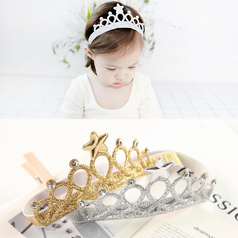 New Children Hair Accessories Princess Tiara scrunchy Headband Baby Crown Bow Headwear Star Crown Toddler Elastic Headband
