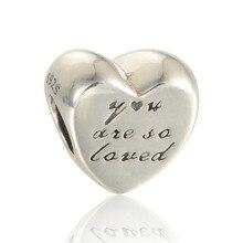 Se adapta a pandora charms pulsera 925 granos de la plata esterlina del corazón eres tan amado silver charm mujeres diy fabricación de la joyería al por mayor