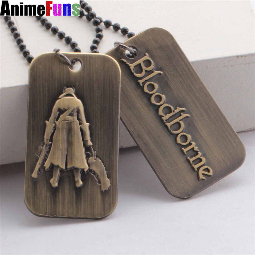 1PCS New Arrivals Online Game Around BLOODBORNE PS4 Keychain Alloy Necklace Gift For Friends Lovers Bloodborne Tag Key Chains