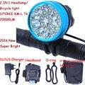 2 в 1 налобный фонарь 20000 люмен 11 x XM-L T6 светодиодный велосипедный фонарь фара для велосипеда + 18650 аккумулятор + зарядное устройство