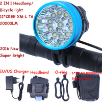 2 in 1 Headlamp Headlight 20000 Lumens 11 x XM L T6 LED Bicycle Light Cycling Bike Head Lamp + 18650 Battery Pack+Charger