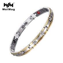 Женский магнитный браслет welmag из нержавеющей стали золотого