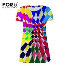 FORUDESIGNS Wholesale Women Beach Dress Ladies Youth Girls T shirt Dresses Colorful Clothes Slim Pencil Solid Female