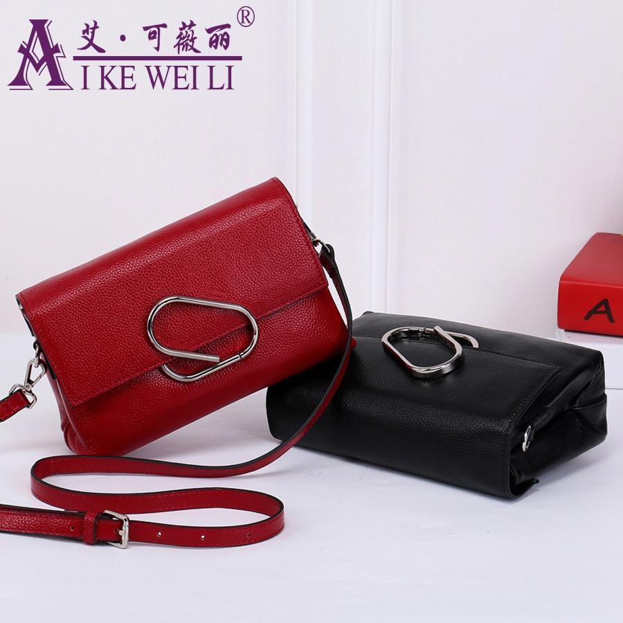 ФОТО Genuine Leather Women's Handbag  First Layer Of Cowhide Women's Small Bag Messenger Bag Women's One Should Cross-body bag