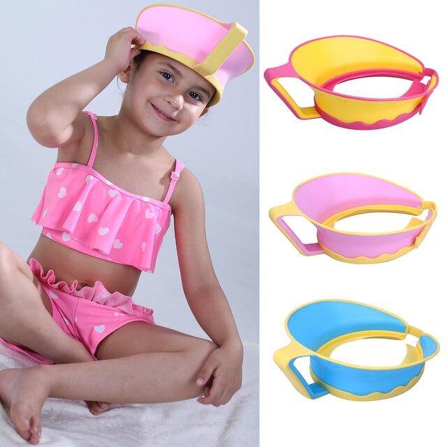 Baby Shower Cap Kids Bath Visor Hat Adjustable Rubber Shampoo Hair Wash Shield Waterproof