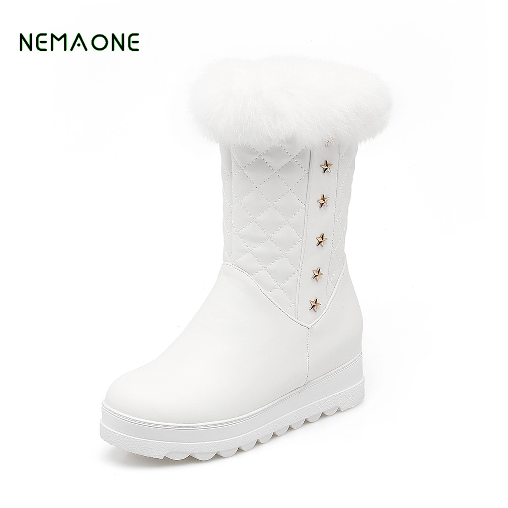 NEMAONE 2017 NEW Winter boots for women keep warm platform shoes woman PU plush mid calf boots round toe snow boots riding boots chunky heels platform faux pu leather round toe mid calf boots fashion cross straps 2017 new hot woman shoes