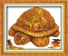 Gold statuette hippo turtle horse elephant cross stitch kit 11ct count print canvas embroidery DIY handmade needlework plus(China)