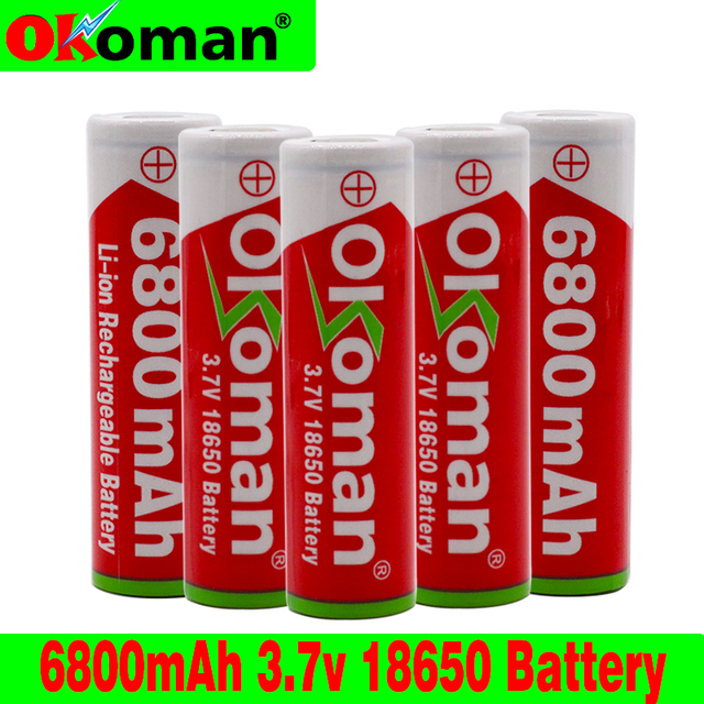 US $2 51 20% OFF|Aliexpress com : Buy Okoman large capacity 18650 battery  6800mAh 3 7V lithium ion rechargeable battery for flashlight electric toy