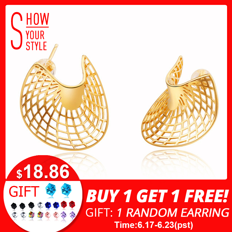 SA SILVERAGE 925 Sterling Silver 14K Yellow Gold Plated Stud Earrings for Women Sector Earrings Fashion Jewelry Gift For WomanSA SILVERAGE 925 Sterling Silver 14K Yellow Gold Plated Stud Earrings for Women Sector Earrings Fashion Jewelry Gift For Woman