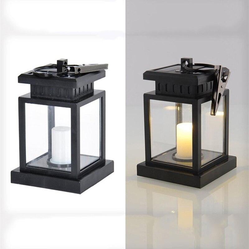 1pc Solar LED Candle Light Upgrade Version Umbrella Table Lamp 1300mAh  (black) Warm White