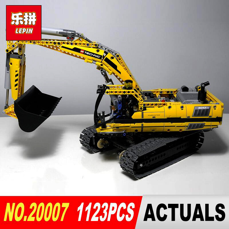 New LEPIN 20007 Technic series 1123pcs excavator Model Building blocks Bricks Compatible Toy Christmas Gift 8043 Educational Car new lepin 21003 series city car beetle model educational building blocks compatible 10252 blue technic children toy gift