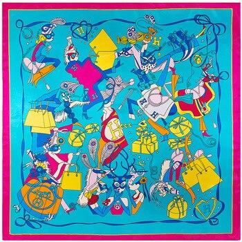 90 см * 90 см Европейская мода элемент сумка H печатных бренд Стиль Женщины шелковый атлас большой квадратный платок путешествия Платок женски...