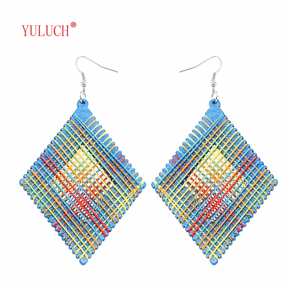 YULUCH New Polygon Drop Earrings For Girls Wood Plus Cotton Jewelry For Women Party Elegant Accessories M0037