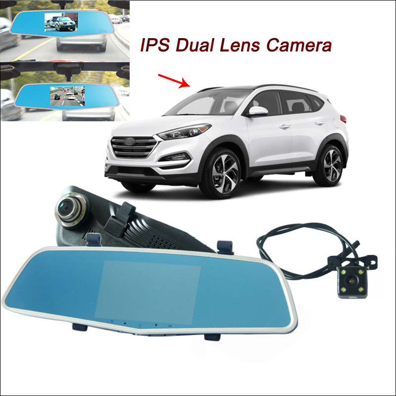 BigBigRoad For hyundai tucson i20 veloster accent Car DVR Rearview Mirror Video Recorder Dual Camera 5 inch IPS Screen dashcam цена