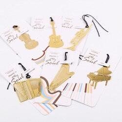 1 pc bonito ouro marcador de metal moda música piano guitarra marcador para livro presente criativo coreano papelaria