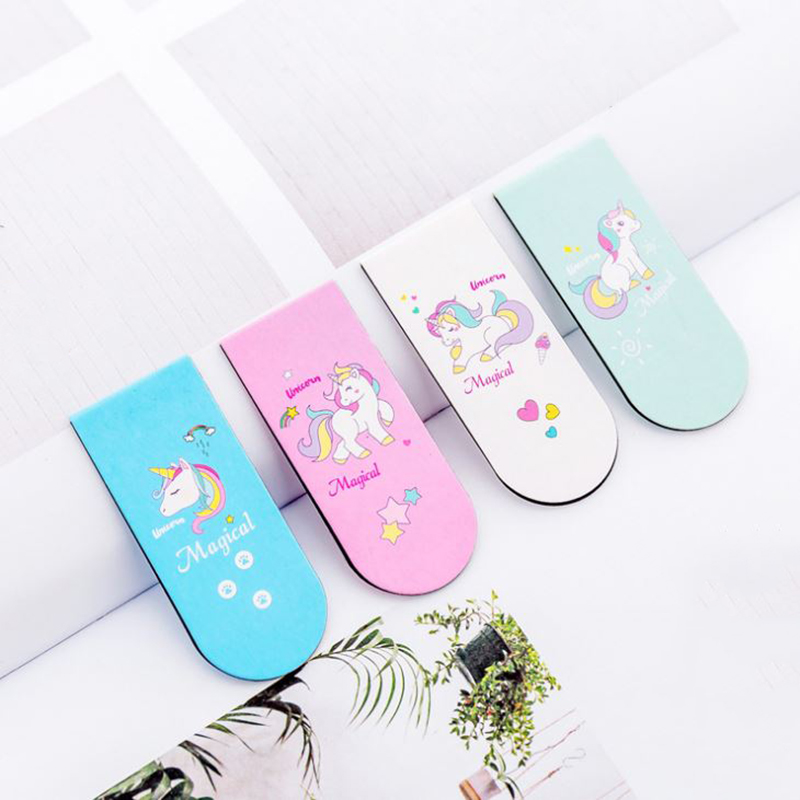 4 Pcs/lot Cute Unicorn Magnet Bookmark Paper Clip School Office Supply Escolar Papelaria Gift Stationery