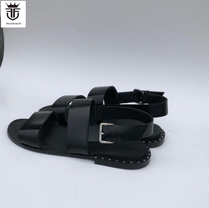 FR.LANCELOT Europe new 2018 men gladiator sandal flat heel summer shoes mens sandals buckle thick heel causal flats