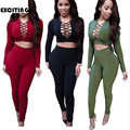 2 Piece Black Red Long Sleeve Cotton Rompers Womens Jumpsuit 2017 Sexy Overalls For Women Elegant Bodycon Playsuits And Jumpsuit