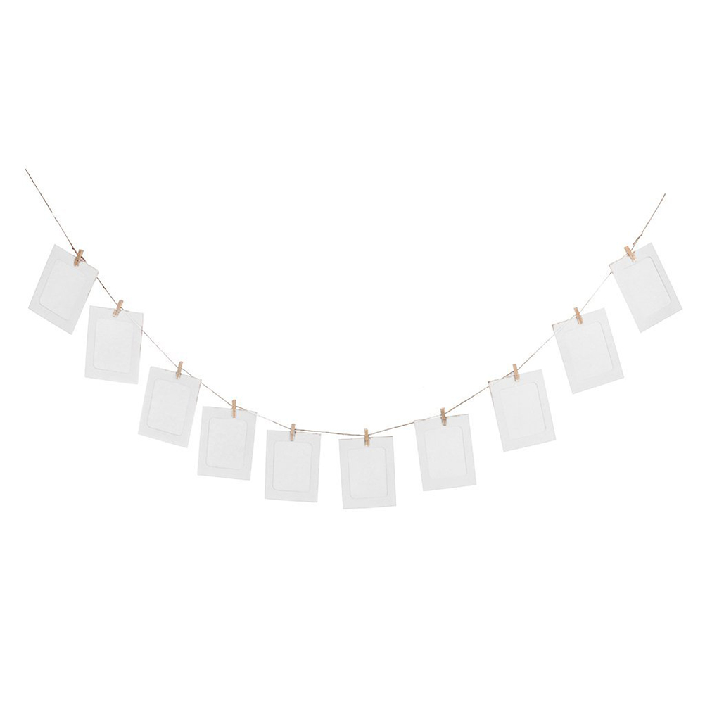 10pcs Diy 6inch Hanging Album Clip Kraft Paper Photo Frame Strings Rope  Clips Sets For Wedding