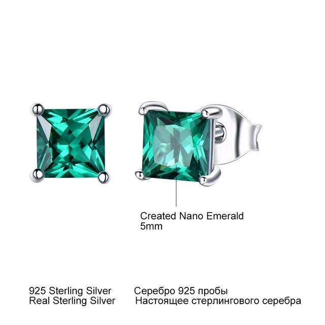 925 Sterling Silver Emerald Stud Earrings for Women 2
