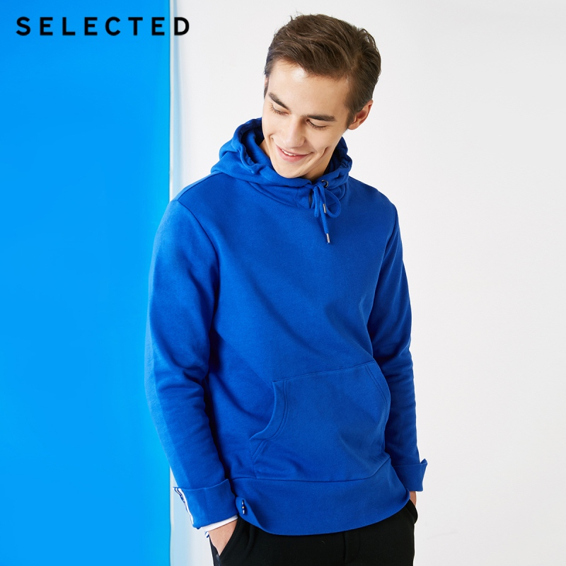 SELECTED Men's 100% Cotton Pullover Contrasting Regular Fit Hoodie Clothes Casual Clothes Sweatershirt S | 41844D530